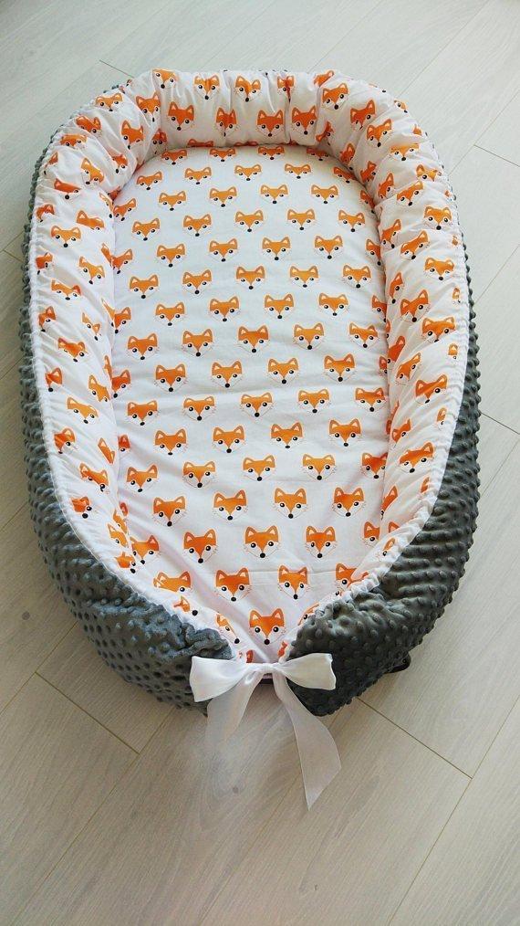 Toddler nest bed,sleeping bed,baby fox print,babynest,snuggle bed,cosleeper,travel bed,baby bedding,woodland nursery,animal nursery