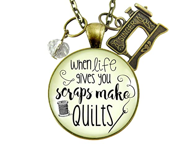 "24"" Quilters Necklace When Life Gives You Scraps Make Quilts Seamstress Pendant Jewelry Sewing Machine Charm"