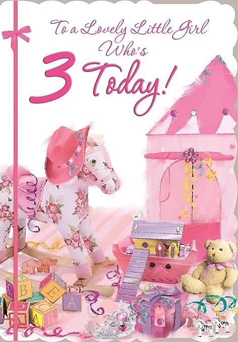 Cards Galore Online Tarjeta de Cumpleaños para Niña de 3 ...