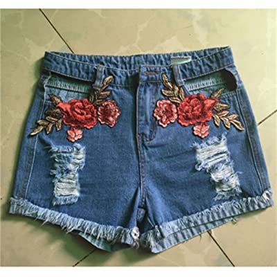 RbxMkWKC Women Vintage Floral Embroidery High Waist Cut Out Distressed Denim Shorts