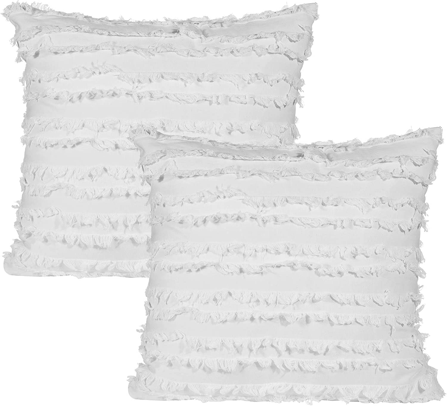 Decorative Throw Pillow Covers for Couch Sofa Bed, Soft Cotton Linen Cushion Covers with Decor Fringe, Accent Pillow Cases for Bed, 18 x 18 Inches, Pack of 2, Off White