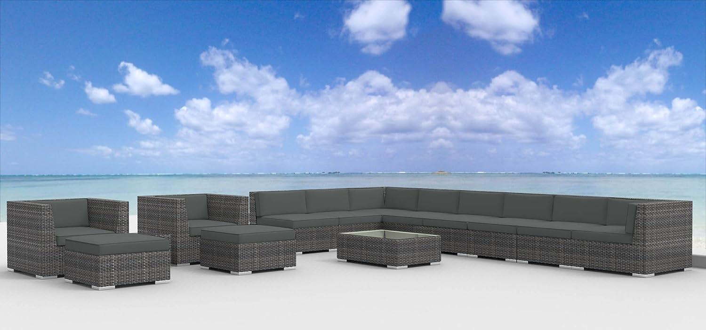 Urban Furnishing – Newport 14pc Modern Outdoor Wicker Patio Furniture Modular Sofa Sectional Set, Fully Assembled – Charcoal