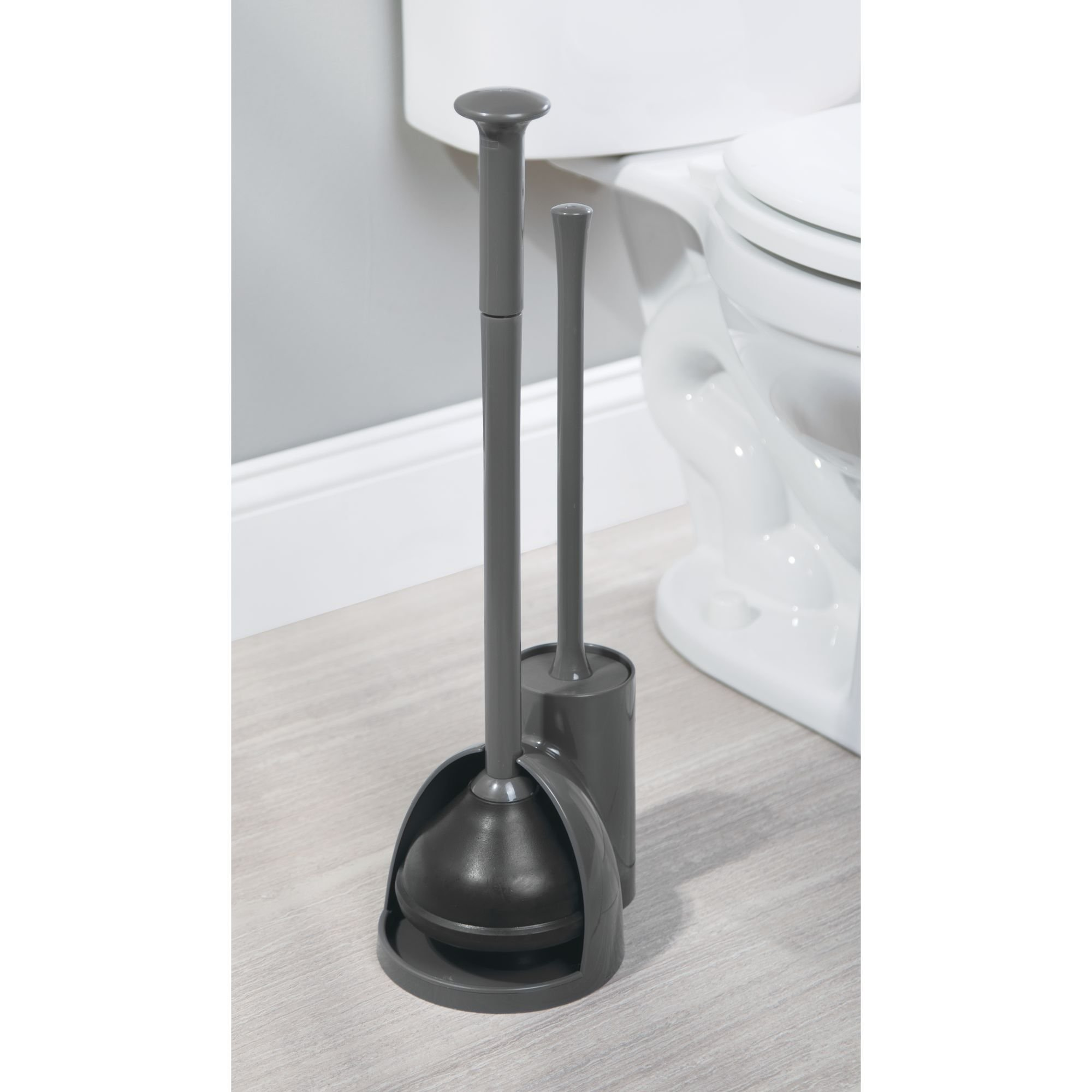 mDesign Modern Slim Compact Freestanding Plastic Toilet Bowl Brush Cleaner and Plunger Combo Set Kit with Holder Caddy for Bathroom Storage and Organization - Covered Lid Brush, 2 Pack - Charcoal Gray by mDesign (Image #2)