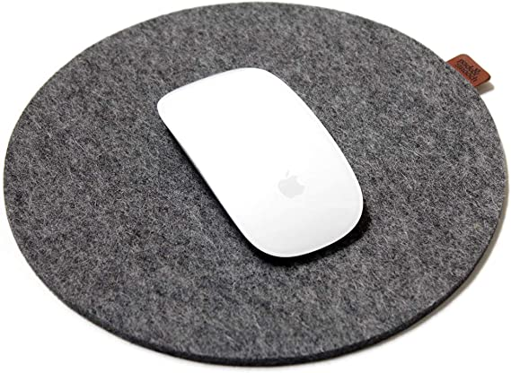 Mouse Pad with Anti-Slip Backside 100/% Merino Wool Felt Mouse is not Included Set of 3 Gray