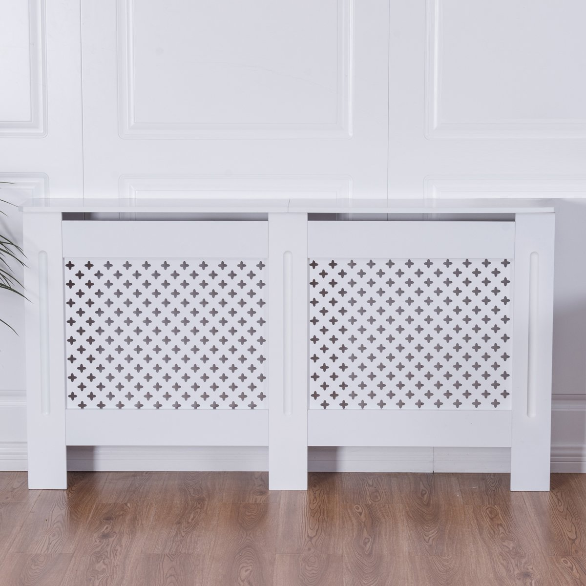 Costway Radiator Cover Wood Home Grill Cabinet Unfinished Or White Small Medium Large (White, Medium)
