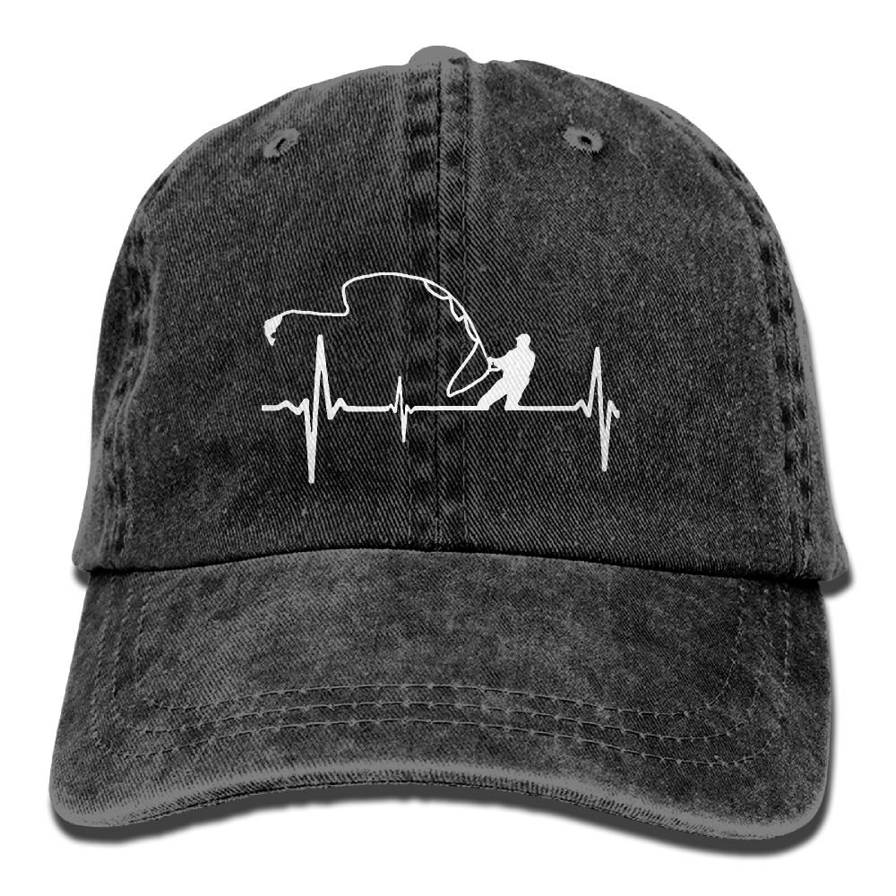 Men's Or Women's Fishing Heartbeat Denim Fabric Baseball Hat Adjustable Hip-Hop Cap