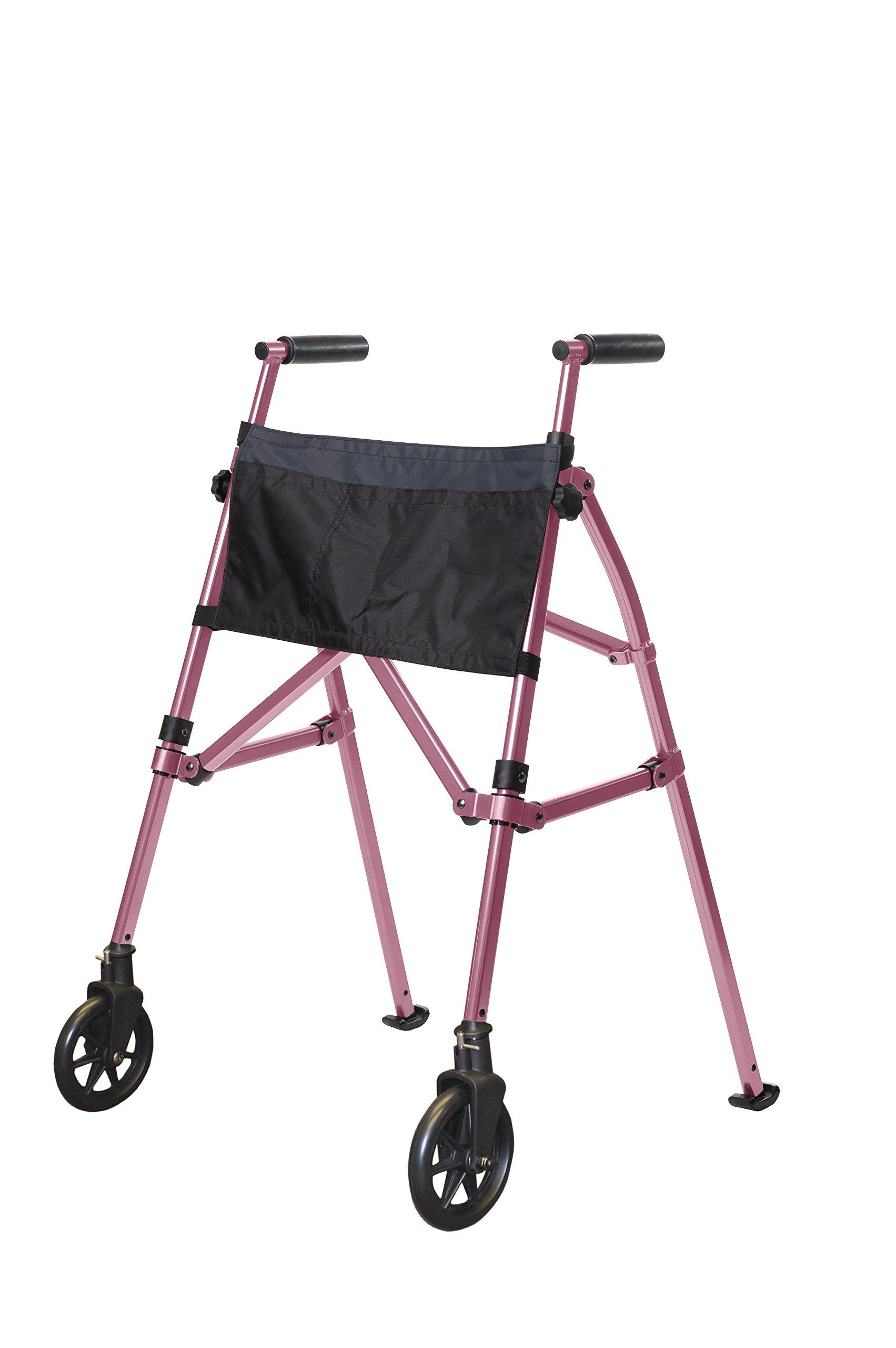 Stander EZ Fold-N-Go Walker - Lightweight Folding & Height Adjustable Adult Travel Walker for Seniors + Locking Swivel Wheels & Pouch - Regal Rose