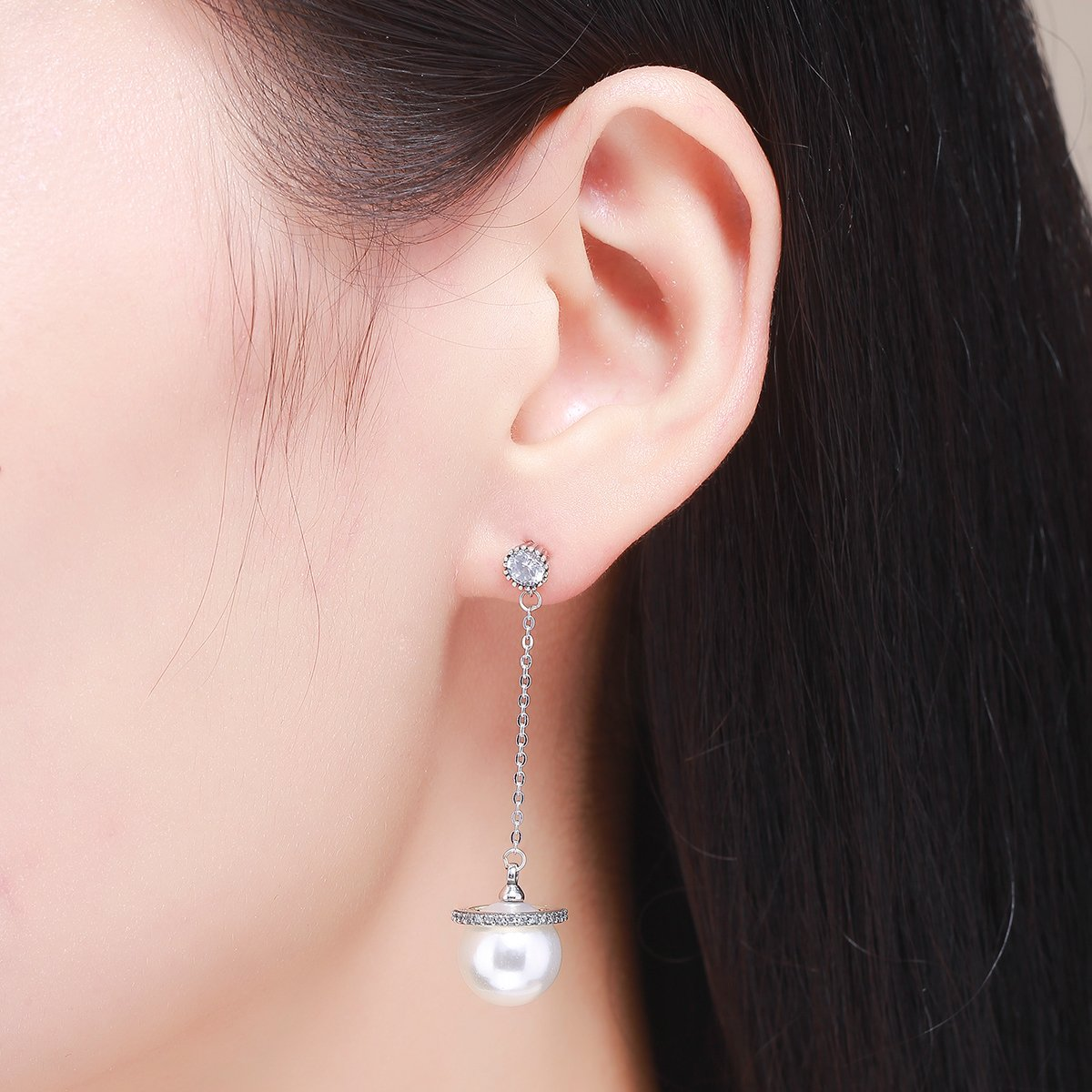 The Kiss Long Tassel Sparking CZ Simulated Pearl 925 Sterling Silver Dangle Earrings
