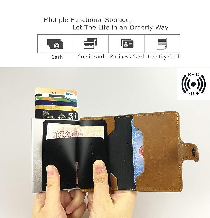 sciuU Cartera Tarjeta de Crédito/Portatarjetas de Visita, Bloqueo RFID, Cartera de Aleación de Aluminio Multiuso Bolsillos, Cuero PU Exterior, ...