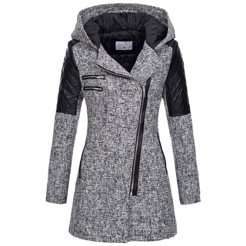 sheart 9 Women's Winter Warm SlimJacket Hoodie Thick Parkas Overcoat Winter Outwear Hooded Zipper Long Trench Coat Gray by sheart 9