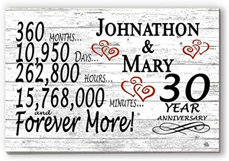 Amazon Com Broad Bay Personalized 30 Year Anniversary Sign Gift Thirtieth Wedding Anniversary 30th For Couple Him Or Her Days Minutes Years Furniture Decor