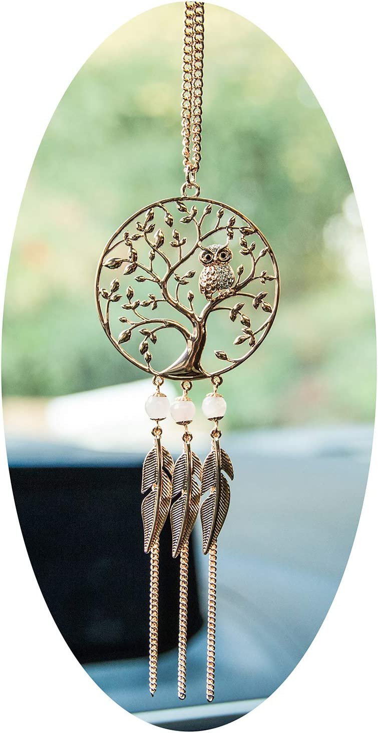 Boltz Tree of Life Pendant Owl Car Charm Rear View Mirror Accessories, Handmade Ornament Wall Hanging Home Decoration (Family Tree)