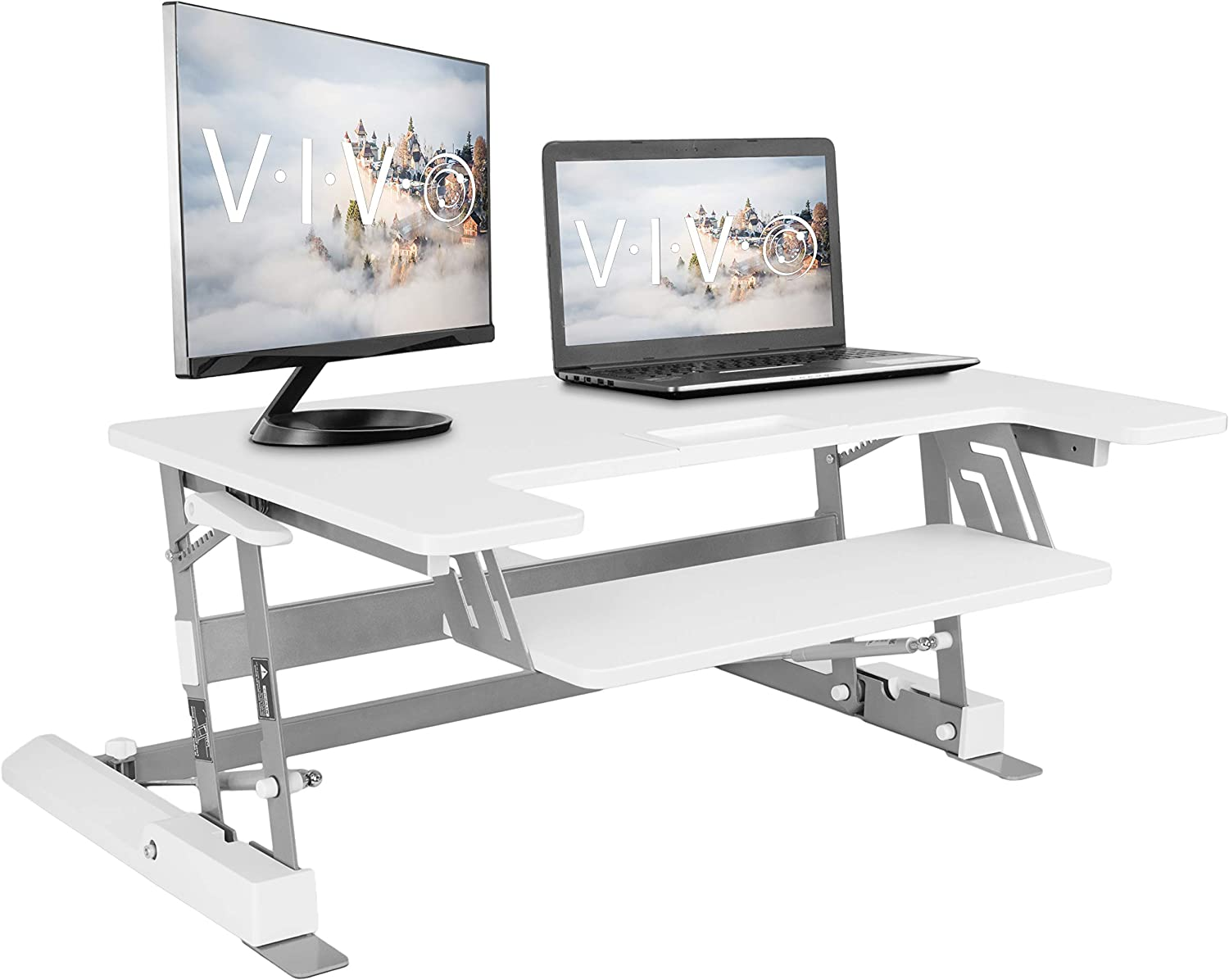 Vivo Sit-stand Workstation For Dual Monitors