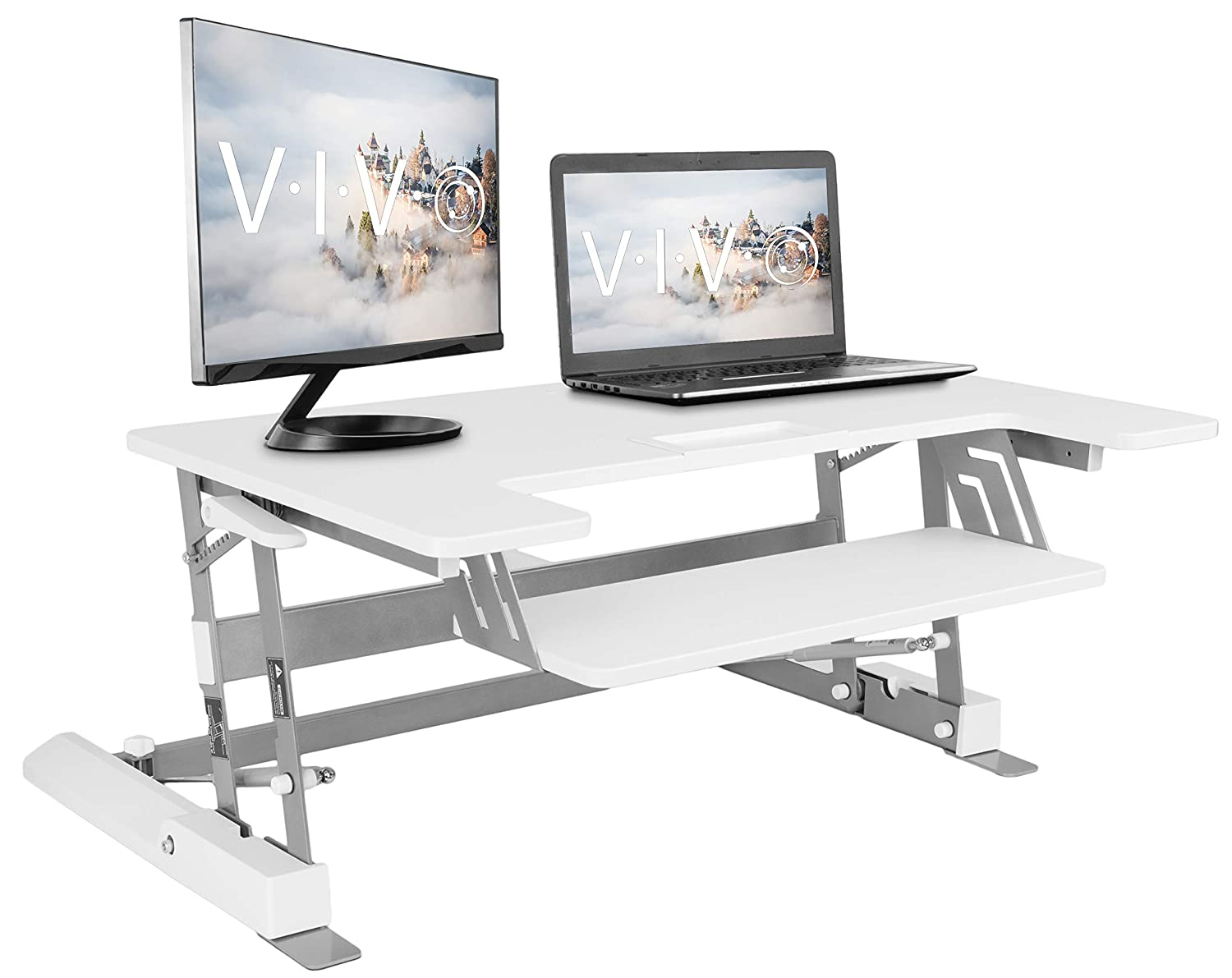 VIVO White Height Adjustable 36 inch Standing Desk Converter | Sit Stand  Tabletop Dual Monitor and Laptop Riser Workstation (DESK-V000W)