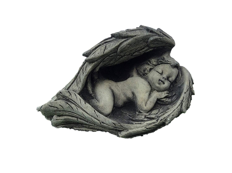 Stone sleeping cherub in wing baby garden ornament memorial Country Garden Ornaments