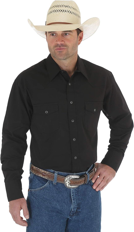 Wrangler Men's Long Sleeve Sport Western Snap Shirt at  Men's Clothing store
