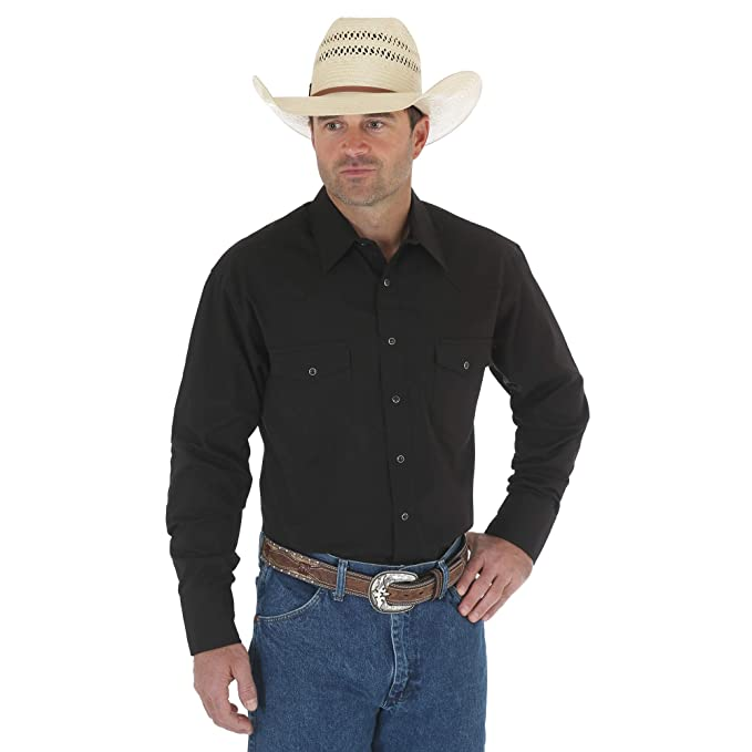 7718af41 Wrangler Mens Sport Western Snap-Front Long-Sleeve Shirt: Amazon.ca ...