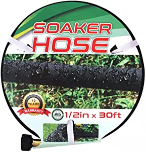 Suneed Soaker Hose 7.5 FT 15 FT, Soaker Hose for Garden 30 FT 50 FT 75 FT, Short Garden Hose Heavy Duty Water Hoses for Soaker, Drip Hoses Save 70% Water (30 FT)