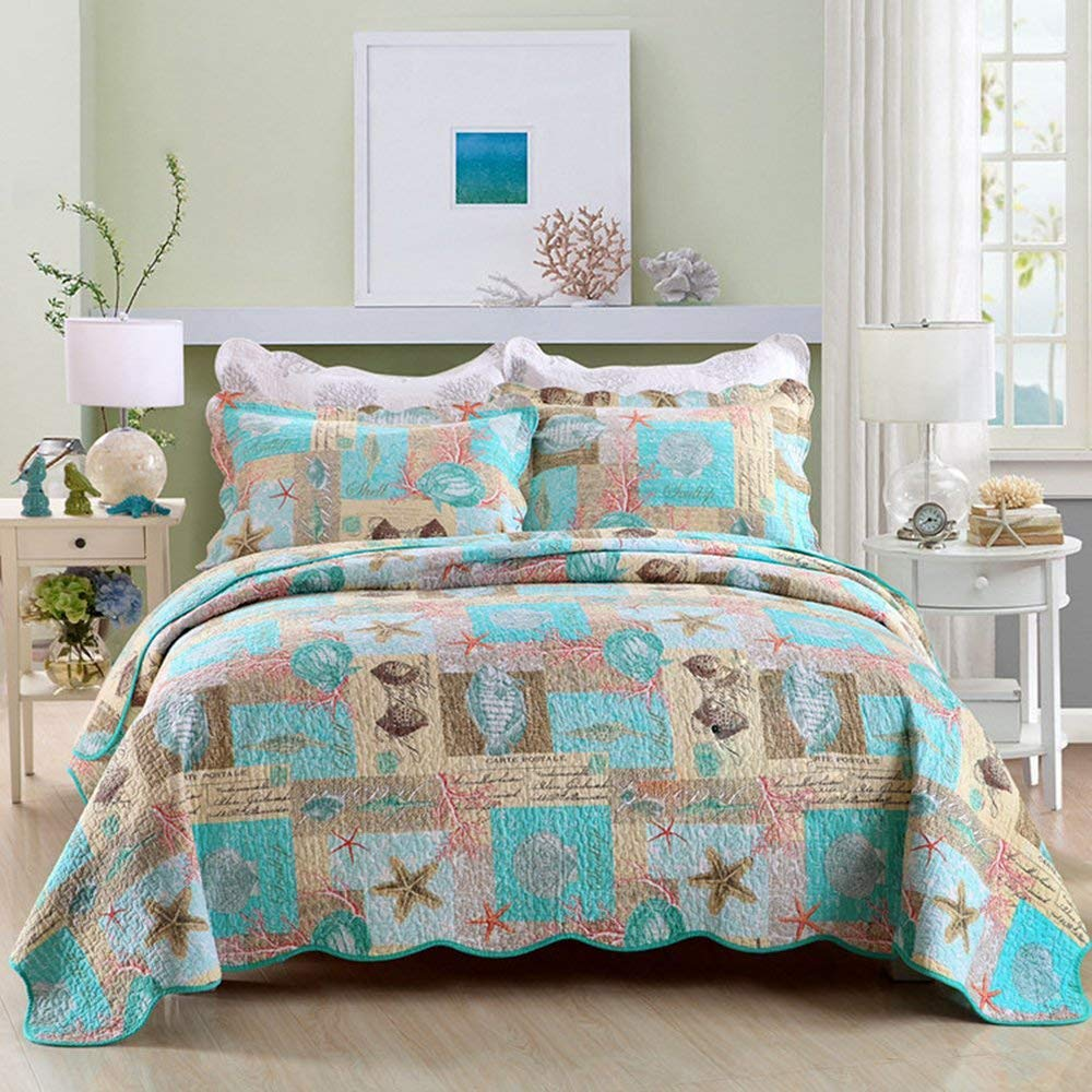 DOUH 3 Piece Quilted Coverlet Set - Seashell Beach Bedding Queen Beach Theme Starfish Coral Pattern Printed Quilt Set Beach Bedspread/Patchwork quilt