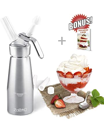Professional 250ml Aluminum Whipped Cream Dispenser 1 Pint Cream Whipper with Recipes Included