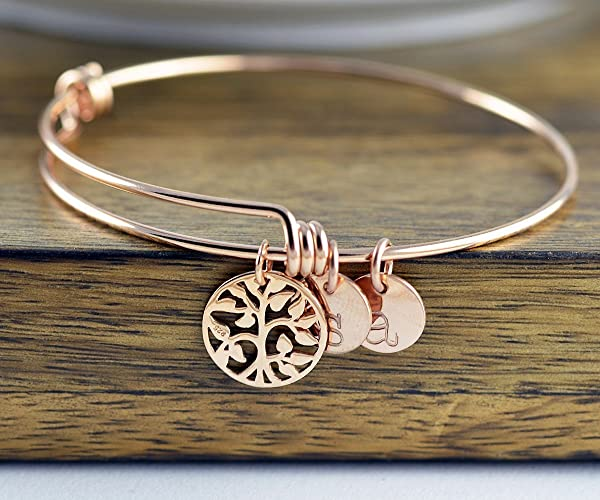 ffc1337205f5 Image Unavailable. Image not available for. Color  Rose Gold Family Tree  Bracelet - Mother s ...
