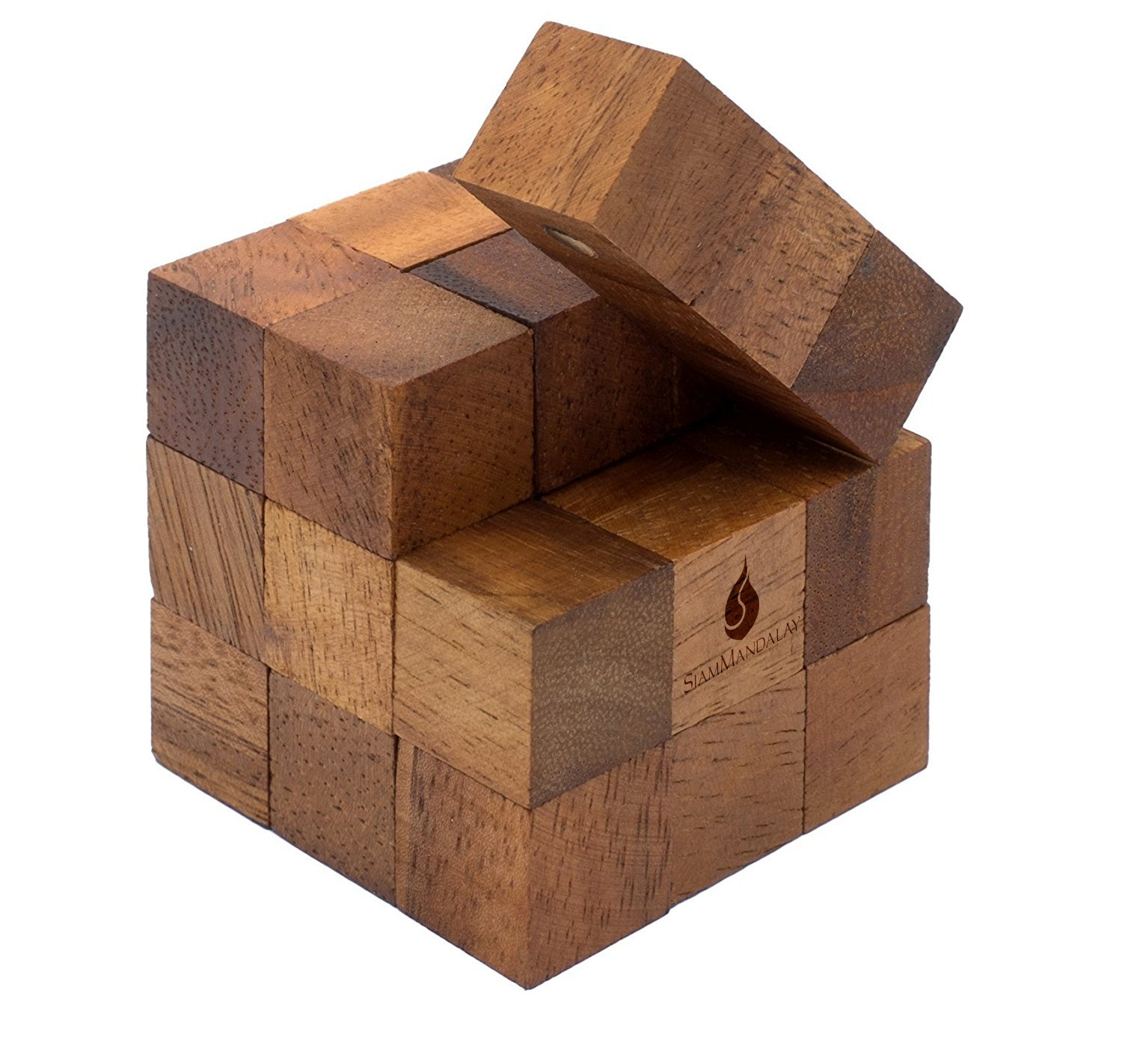Snake Cube: Handmade & Organic 3D Brain Teaser Wooden Puzzle for Adults from SiamMandalay with SM Gift Box(Pictured)