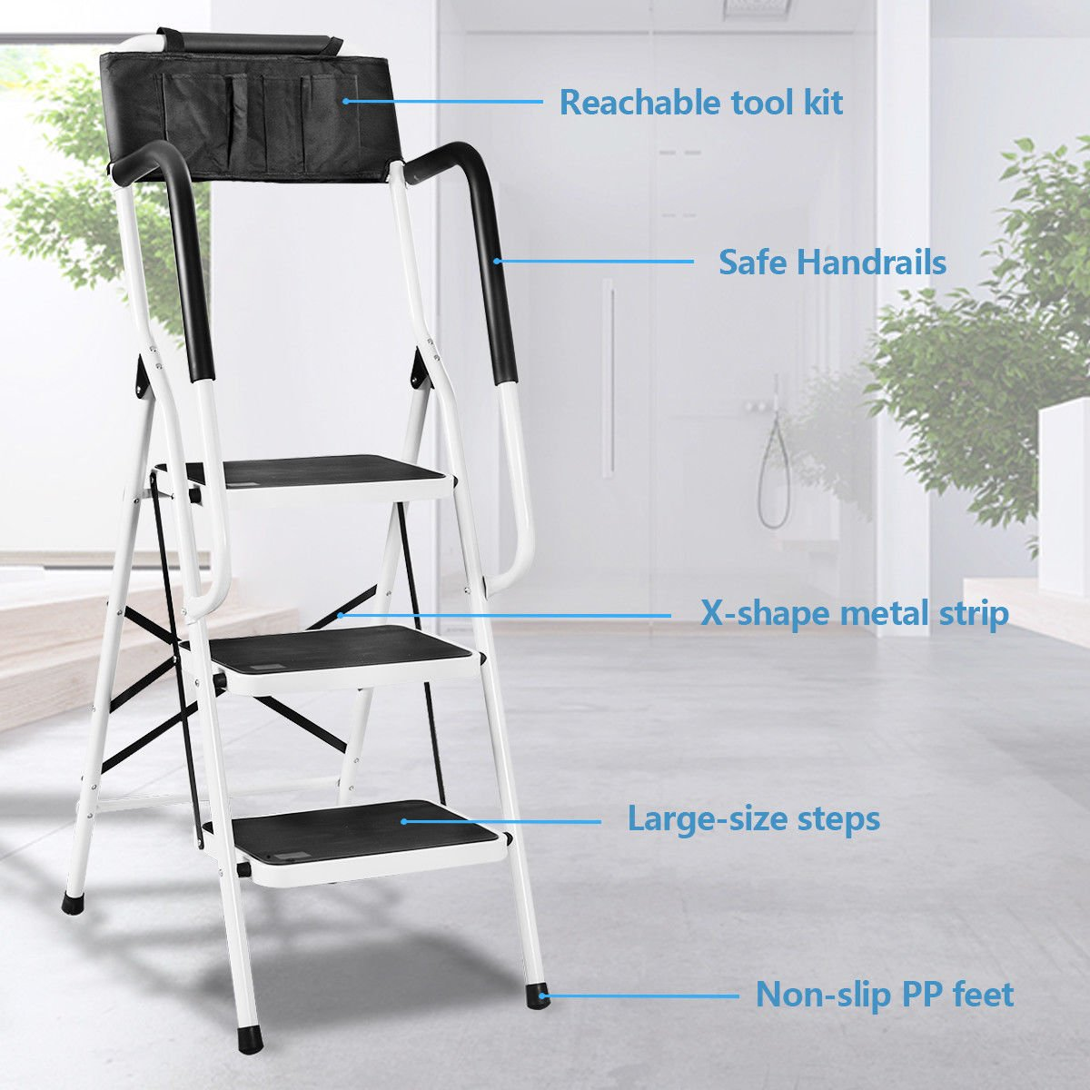 Giantex Folding 3 Step Ladder W/Padded Side Handrails Non-Slip Steps Tool Pouch Caddy Lightweight Powerful Capacity by Giantex (Image #4)