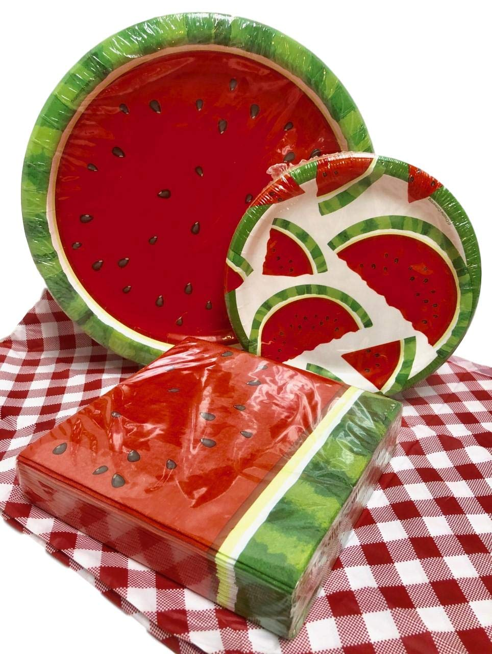 Watermelon Picnic Party Supplies Disposable Paper Plates, Napkins, Tablecloth - 105 Piece Spring and Summer Bundle (Red)