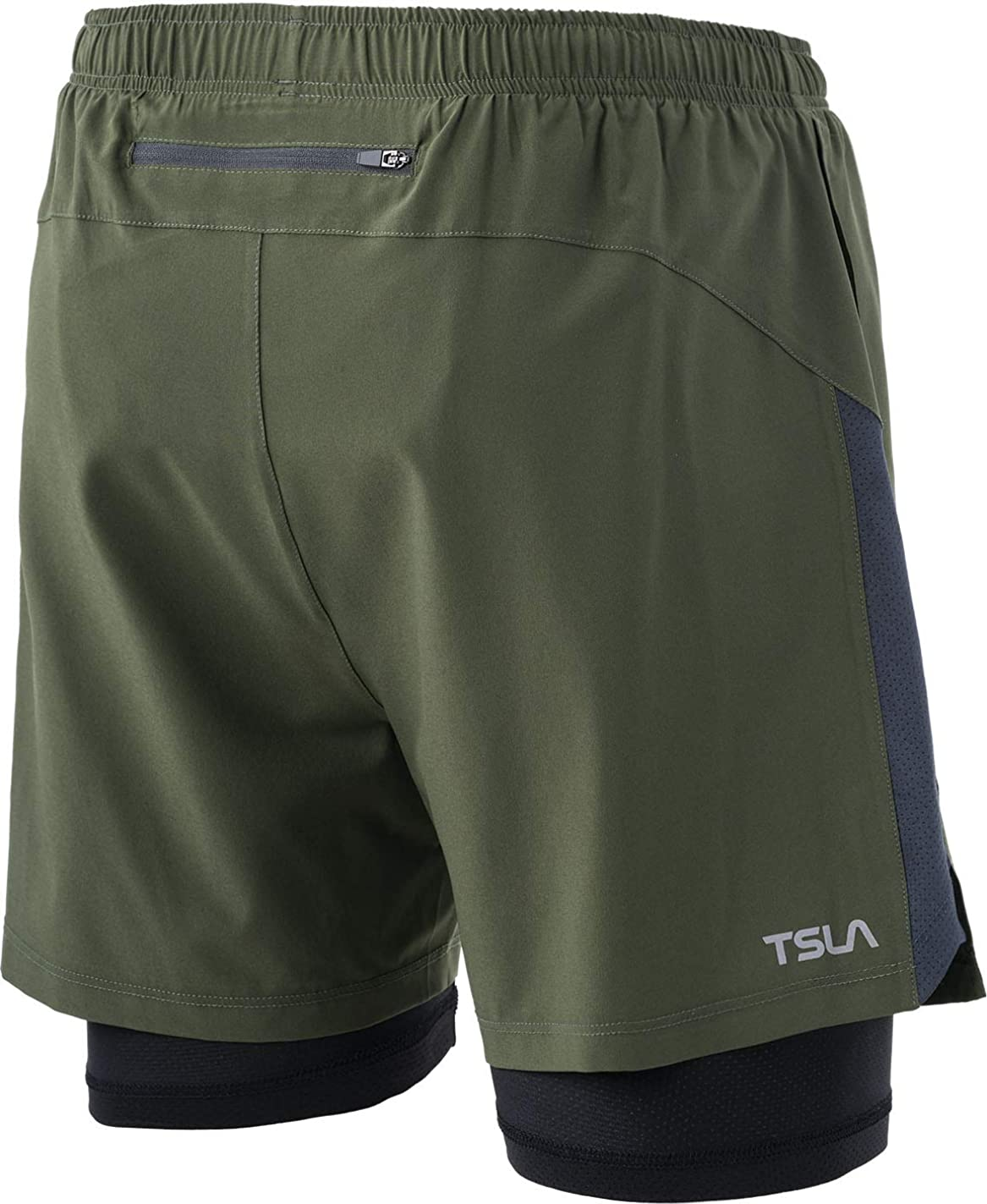 TSLA Mens 2 in 1 Active Running Shorts Quick Dry Exercise Workout Shorts Gym Training Athletic Shorts with Pockets