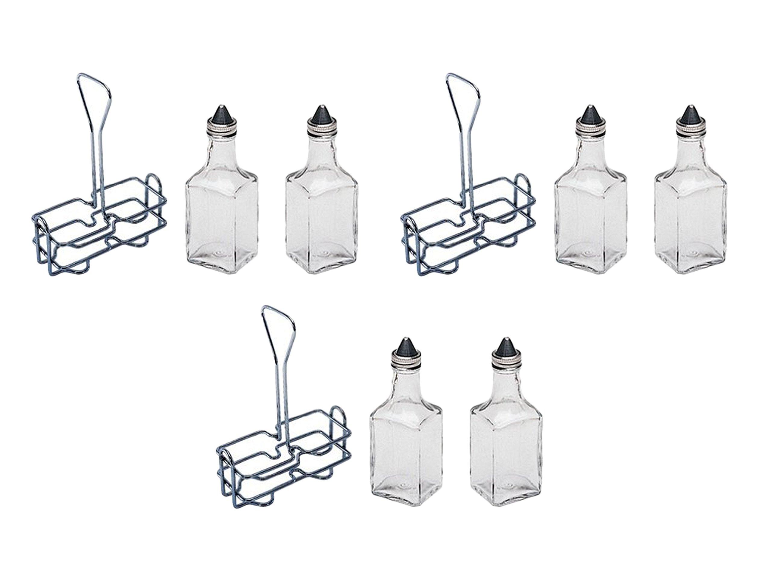 3 Set of 2 Update 6 oz. Tabletop Oil and Vinegar Cruet Glass Bottle Cruets Dispenser w/Chrome Plated Caddy Holder bundled by Maven Gifts