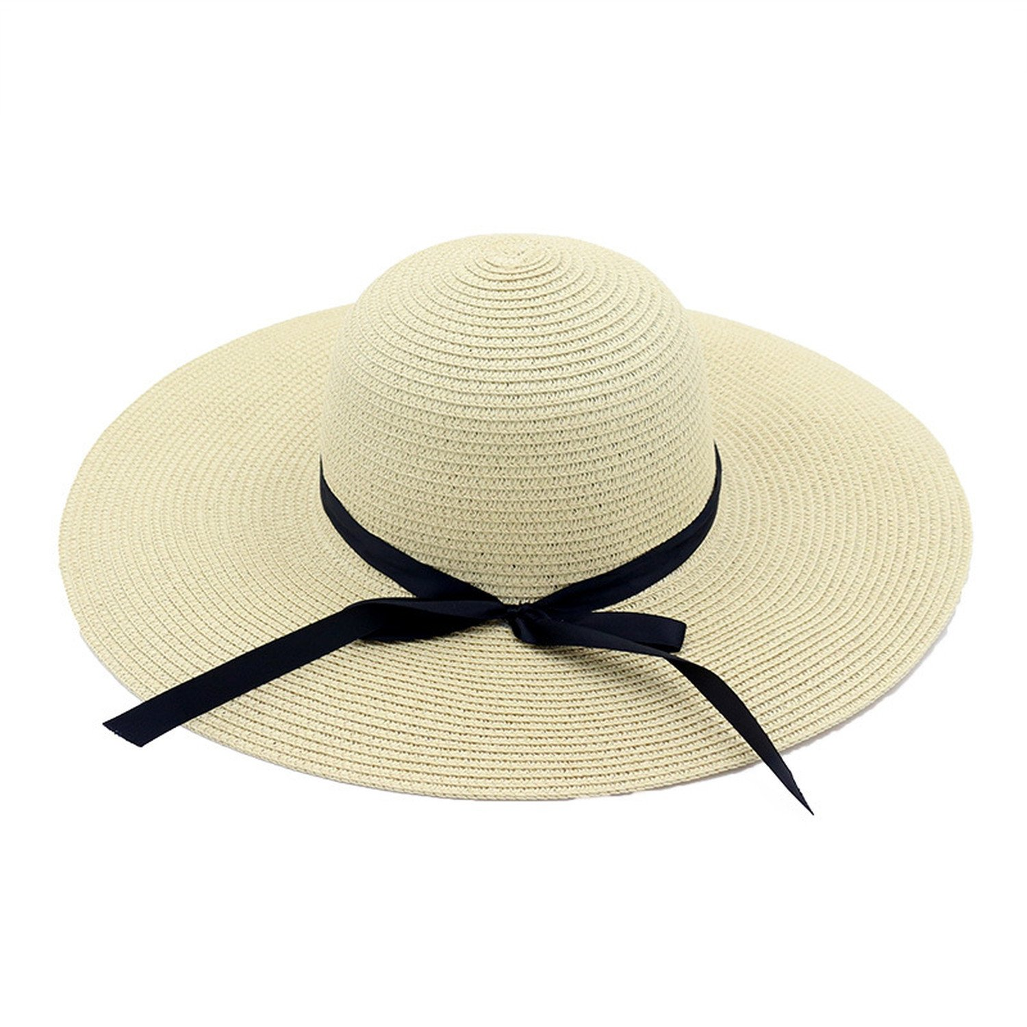 Spring and summer new hat female straw hat seaside holiday beach sun hat big hat bow bow sun hat,Khaki,adjustable by Spring Moon party-hats (Image #2)