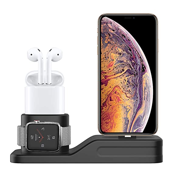 MoKo Charging Stand Compatible with Apple Watch Series1/2/3/4, [3 in 1] Silicone Charger Station Dock Support NightStand Mode, Fits iWatch 38mm-44mm, ...