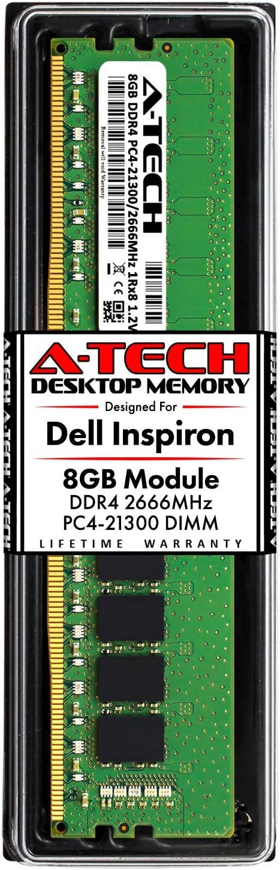 A-Tech 8GB RAM for Dell Inspiron 3470, 3471, 3670, 3671, 5680   DDR4 2666MHz DIMM PC4-21300 288-Pin Non-ECC UDIMM Desktop Memory Upgrade Module