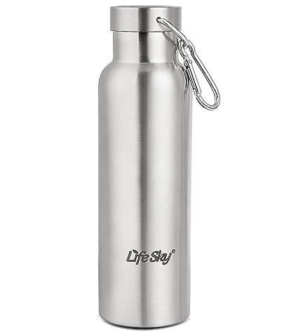 Botella LifeSky acero inoxidable Deportes de agua - de pared doble aislamiento por vacío, de boca ancha, libre de BPA, 20oz (600 ml)
