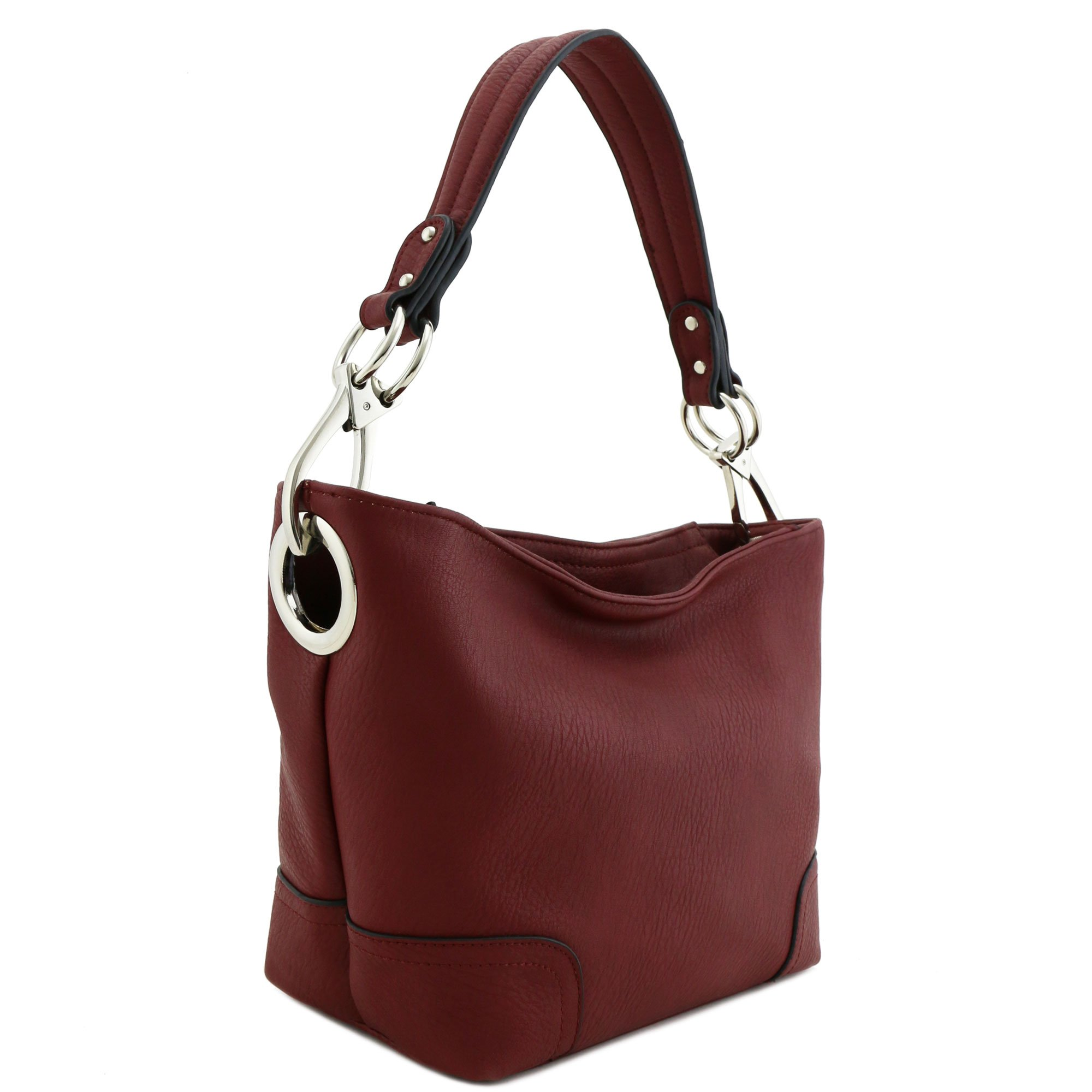 Hobo Shoulder Bag with Snap Hook Hardware Small (Burgundy)