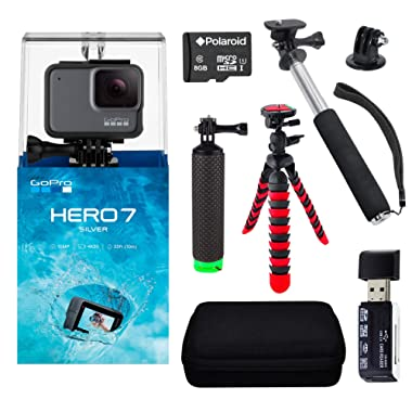 GoPro Hero7 Silver Bundle with Handheld Monopod, 12  Flexi-Tripod, Float Handle, Camera Case, Memory Card Reader, Tripod Adapter, and 8GB MicroSDHC Memory Card