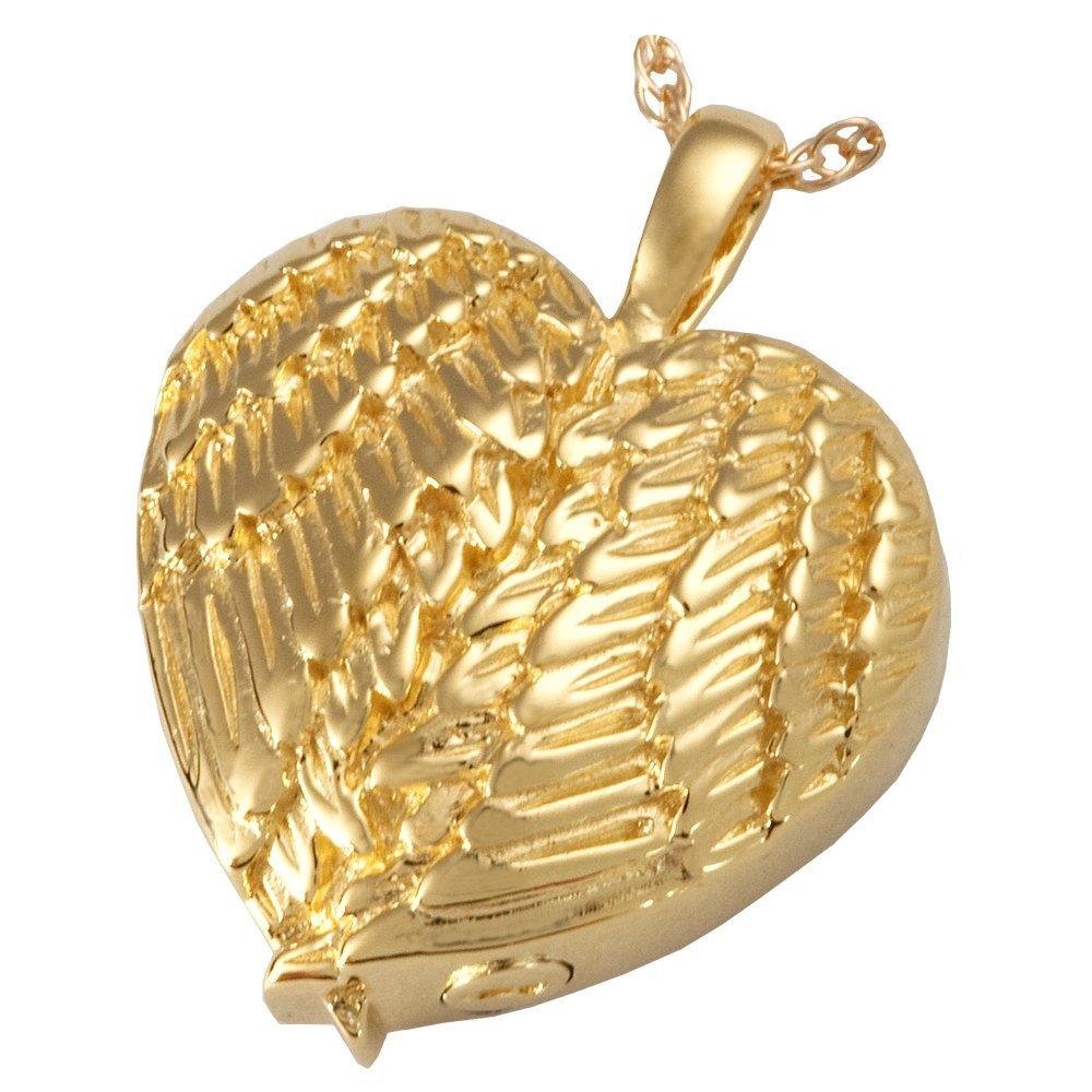 Memorial Gallery MG-3202gp Angel Wing Heart 14K Gold/Sterling Silver Plating Cremation Pet Jewelry by Memorial Gallery