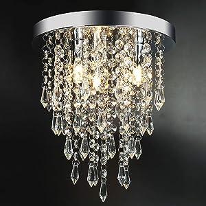 "3 Lights Mini Crystal Flushmount Chandelier Fixture,Hong-in Crystal Ceiling Lamp, H10.4"" X W9.84"", Elegant Modern Flush Mount Ceiling Light for Bedroom, Hallway, Bar, Living Room, Dining Room, Chrome"