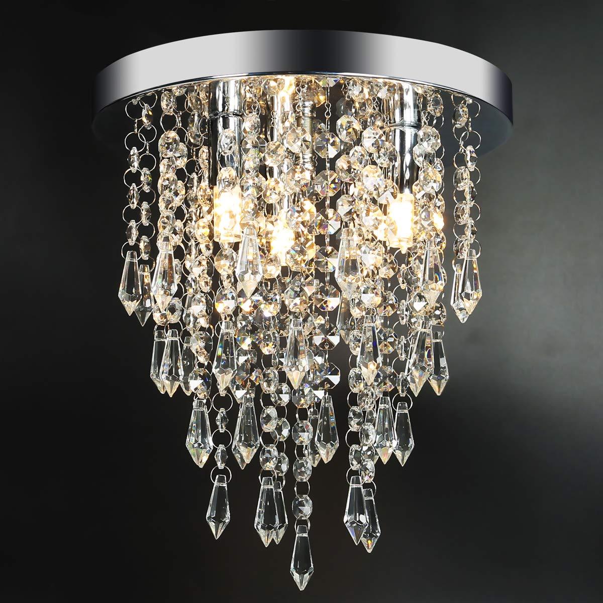 3 Lights Mini Crystal Flushmount Chandelier Fixture,Hong-in Crystal Ceiling Lamp, H10.4'' X W9.84'', Elegant Modern Flush Mount Ceiling Light for Bedroom, Hallway, Bar, Living Room, Dining Room, Chrome by Hong-in