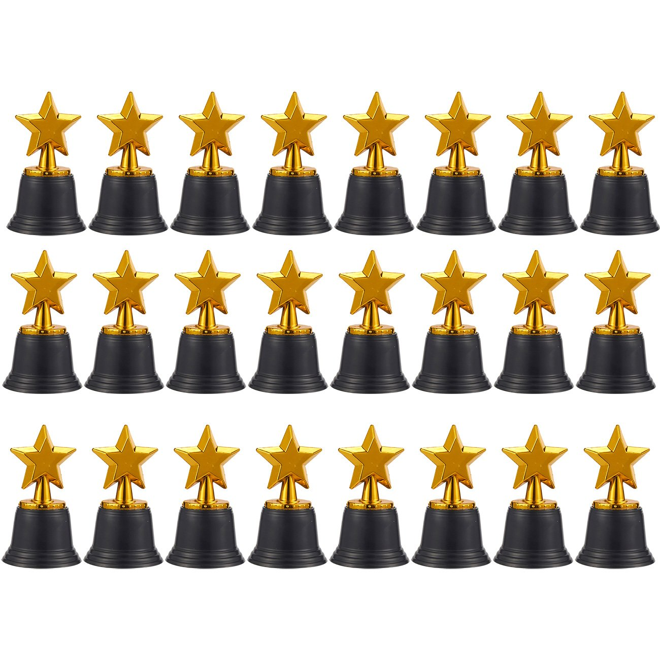 Juvale Star Trophies - Pack of 12 Mini Star Awards, Plastic Trophies for Kids, Gold, 2.6 x 4.7 x 2.6 Inches