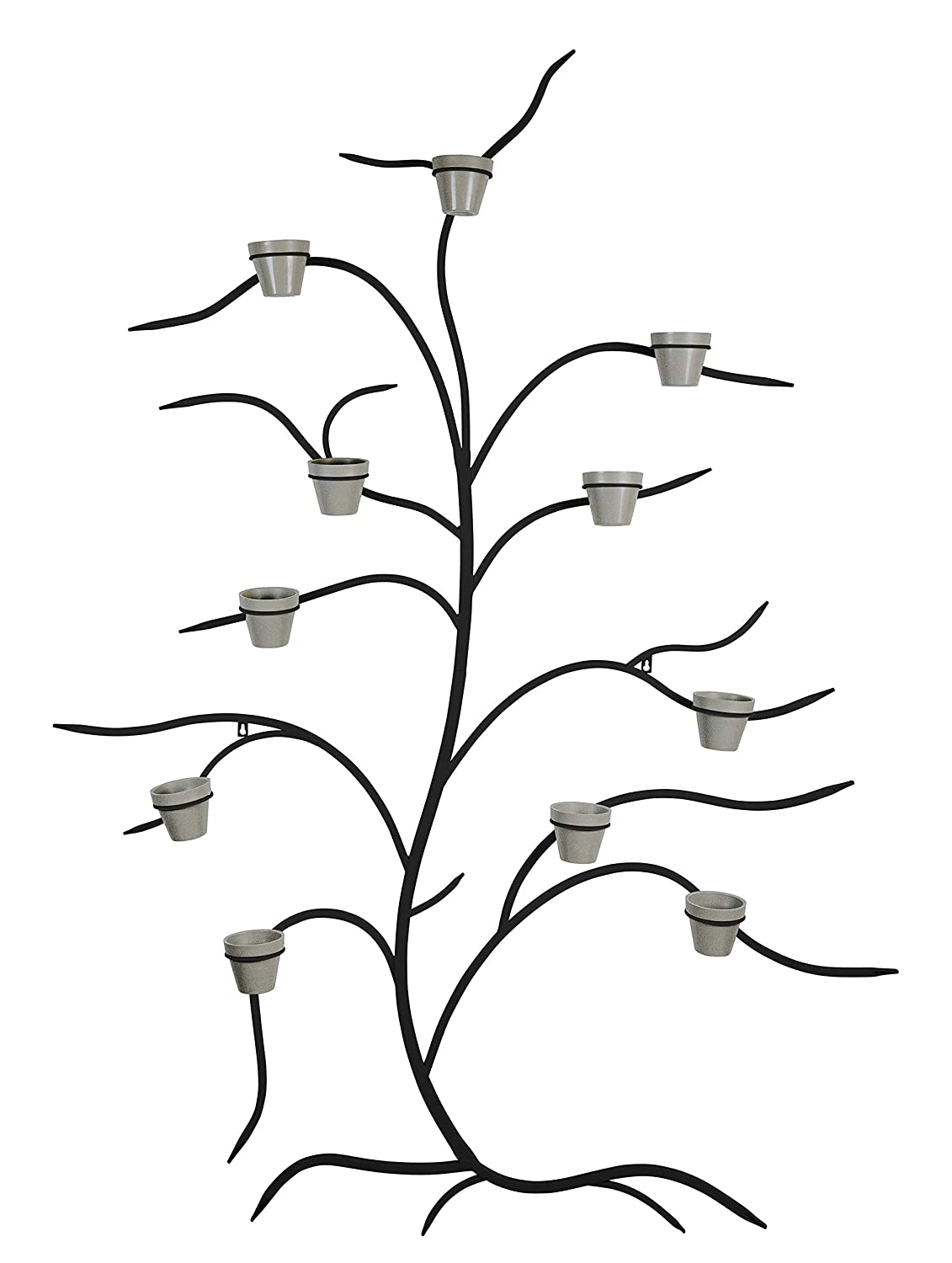 Martha Stewart Garden, Metal Tree Wall Planter with 11 Pots, Black