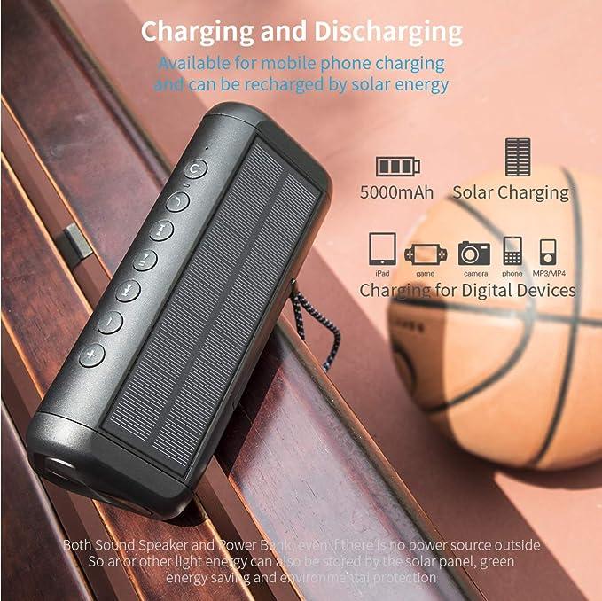 Solar Bluetooth Speaker with 5000mAh Power Bank