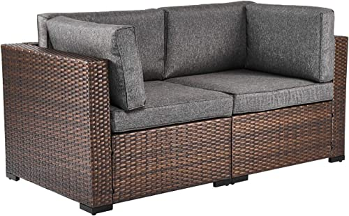 Kinsunny PE Wicker Patio Loveseats Sectional Corner Sofa Rattan Outdoor Furniture Sofa Set