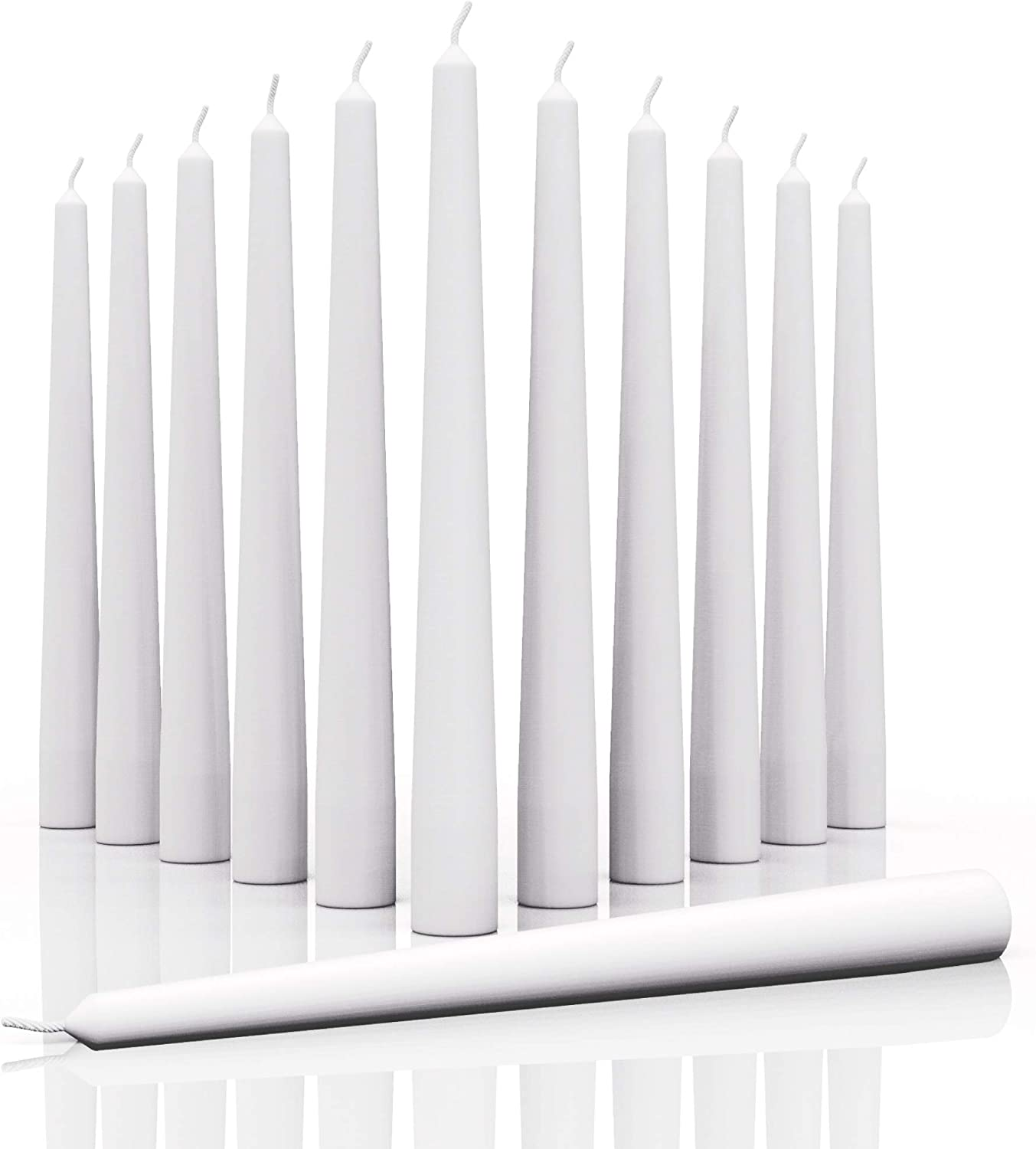CANDWAX 12 inch Taper Candles Set of 12 - Dripless and Smokeless Candle Unscented - Slow Burning Candle Sticks are Perfect As Thanksgiving Taper Candles - White Candles