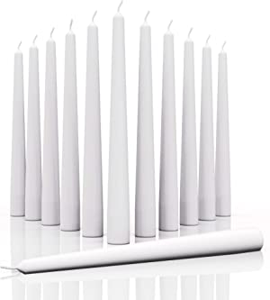 CANDWAX 12 inch Taper Candles Set of 12 - Dripless and Smokeless Candle Unscented - Slow Burning Candle Sticks are Perfect As Christmas Taper Candles - White Candles