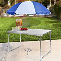 Homdox Folding Table Height Adjustable Aluminum Camping Table