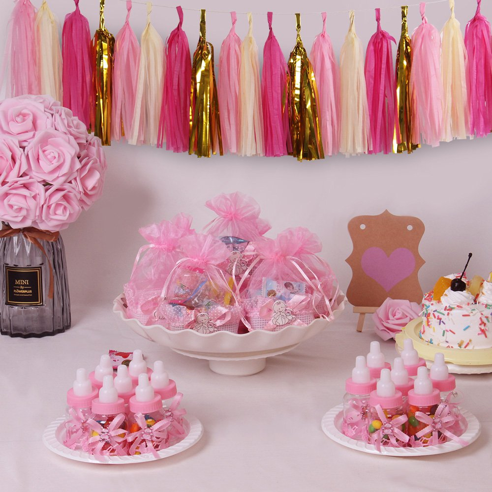 24pcs Candy Bottle Gift Box and Organza Baby Candy Gift Basket Baby Shower Supplies for Baby Parties Birthday Pink