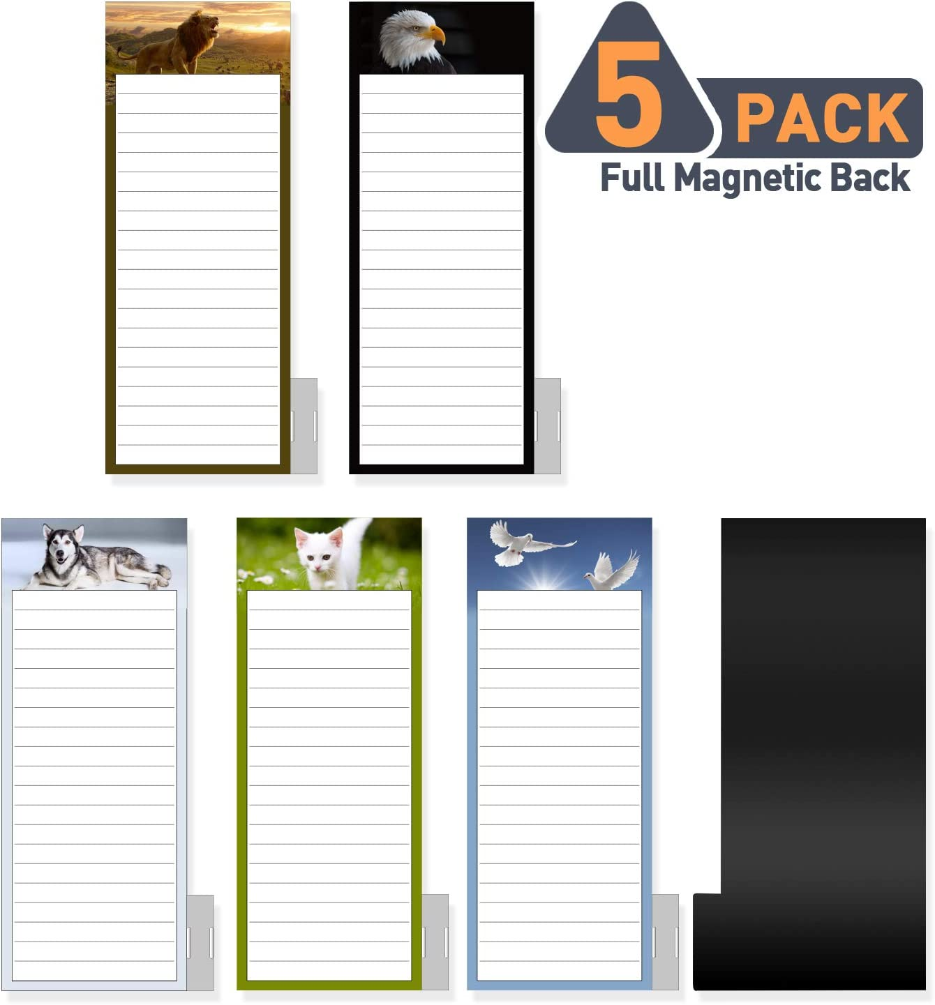 "5 Pack Bigger Full Magnetic Back To Do List Notepads for Fridge with Pen Holder, House Chores, Grocery Shopping and Reminders, Animal Theme Designs, 9"" x 3.5"", 50 Sheets, Magnet Memo Pad"