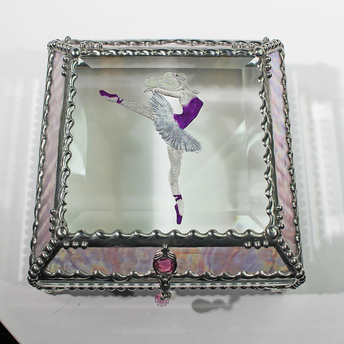 Ballerina 5X5 SILVER Jewelry Box by Glass Treasure Box