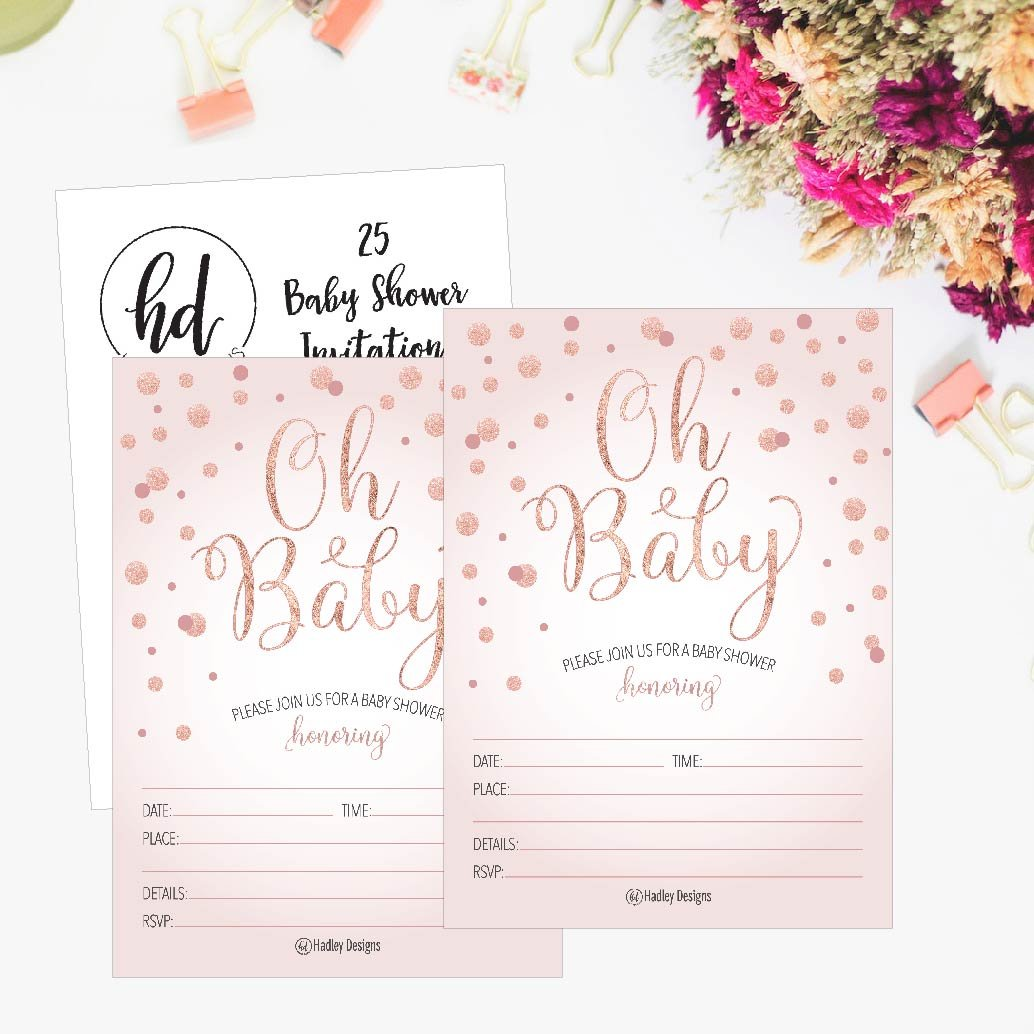 25 Blush Rose Gold Girl Oh Baby Shower Invitations, Cute Princess Printed Fill Or Write in Blank Invite, Printable Shabby Chic Unique Custom Vintage Coed Twin Sprinkle Party Card Stock Paper Supplies by Hadley Designs (Image #4)